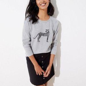 Loft Cheetah Heather Grey Embroidered Sweatshirt